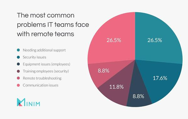 Pie chart: the most common problems IT teams face with remote teams