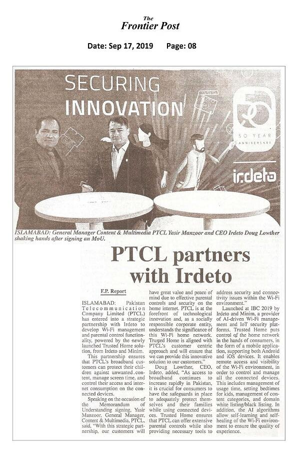 PTCL partners to deliver Trusted Home, by Irdeto and Minim