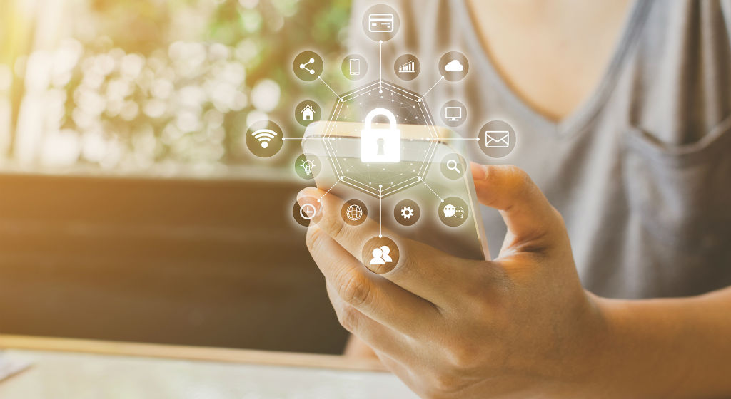Woman-Using-Smartphone-Device-Security