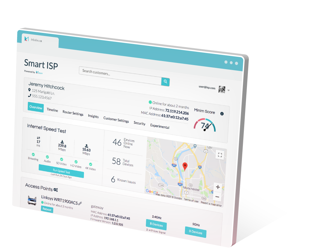 Minim's customer care portal