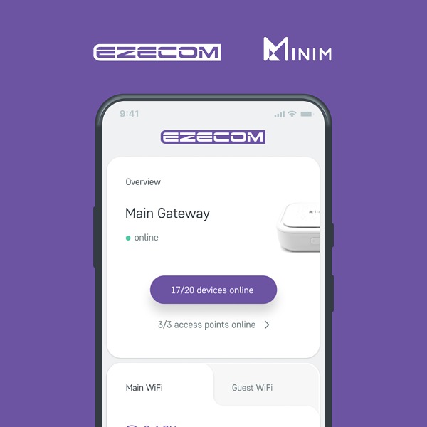 The EzeWiFi mobile app, powered by Minim