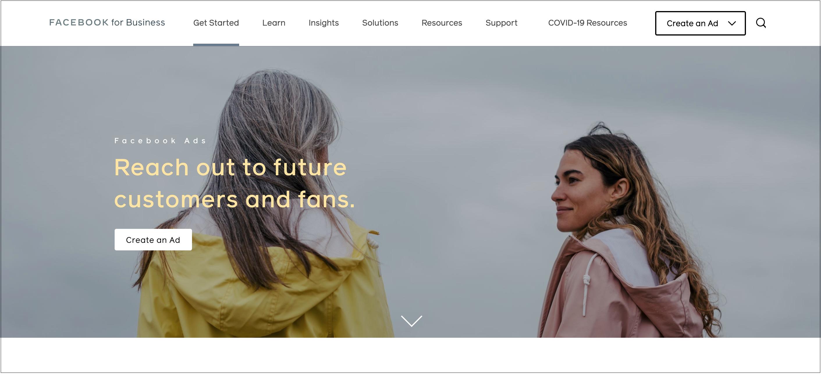 Facebook Ads webpage