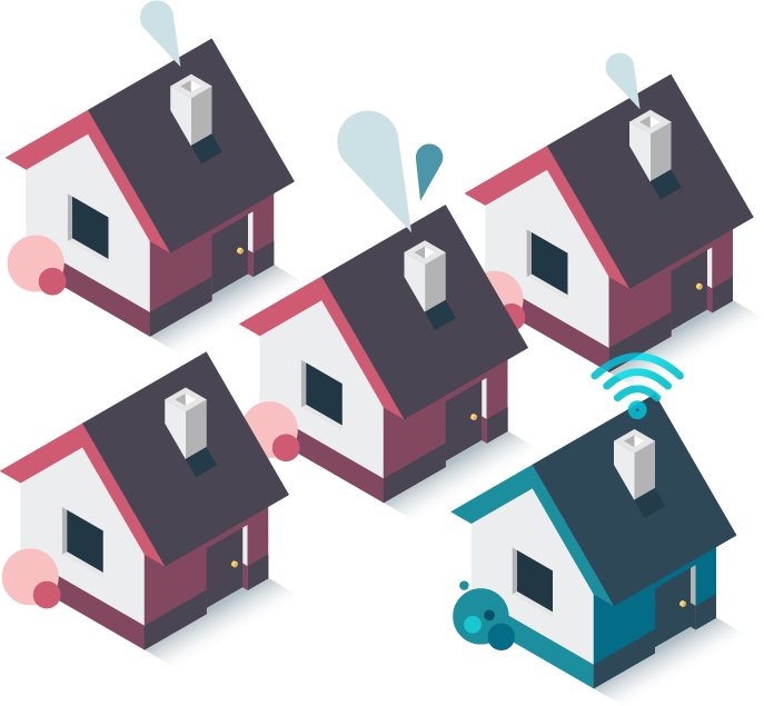 houses represent Minim IoT security in the neighborhood