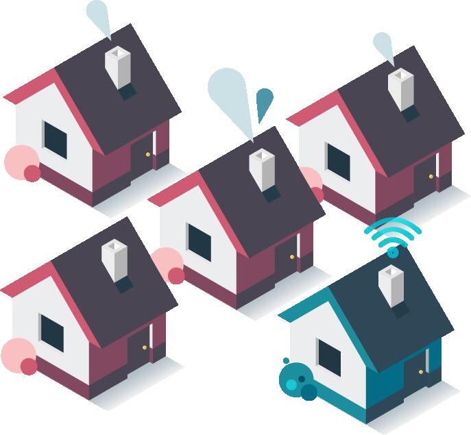 houses represent Minim IoT security in the neighborhood