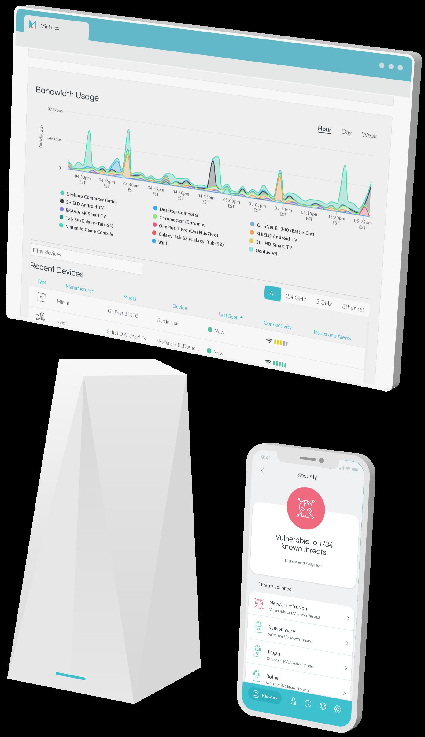 Minim Care Portal,  mobile app, and MikroTik Audience